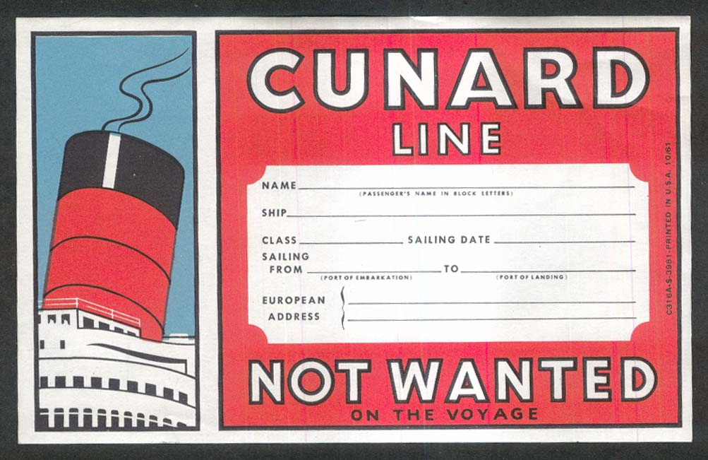 Cunard Line Not Wanted unused baggage sticker