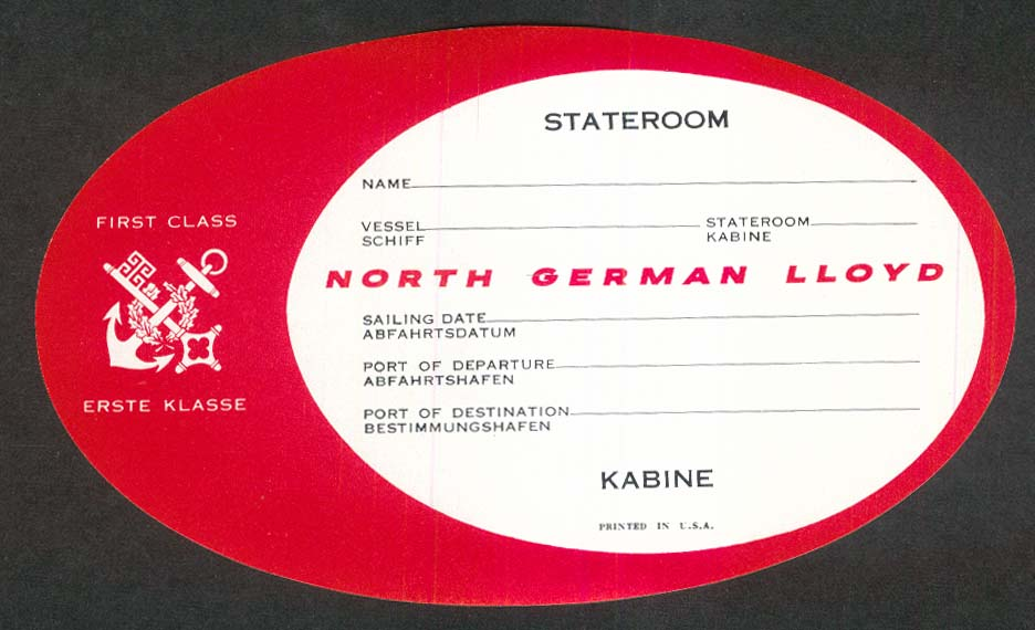 North German Lloyd First Class Stateroom unused baggage sticker