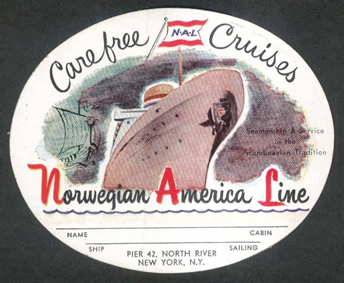 Carefree Cruises NAL Norwegian America Line unused crack & peel baggage sticker