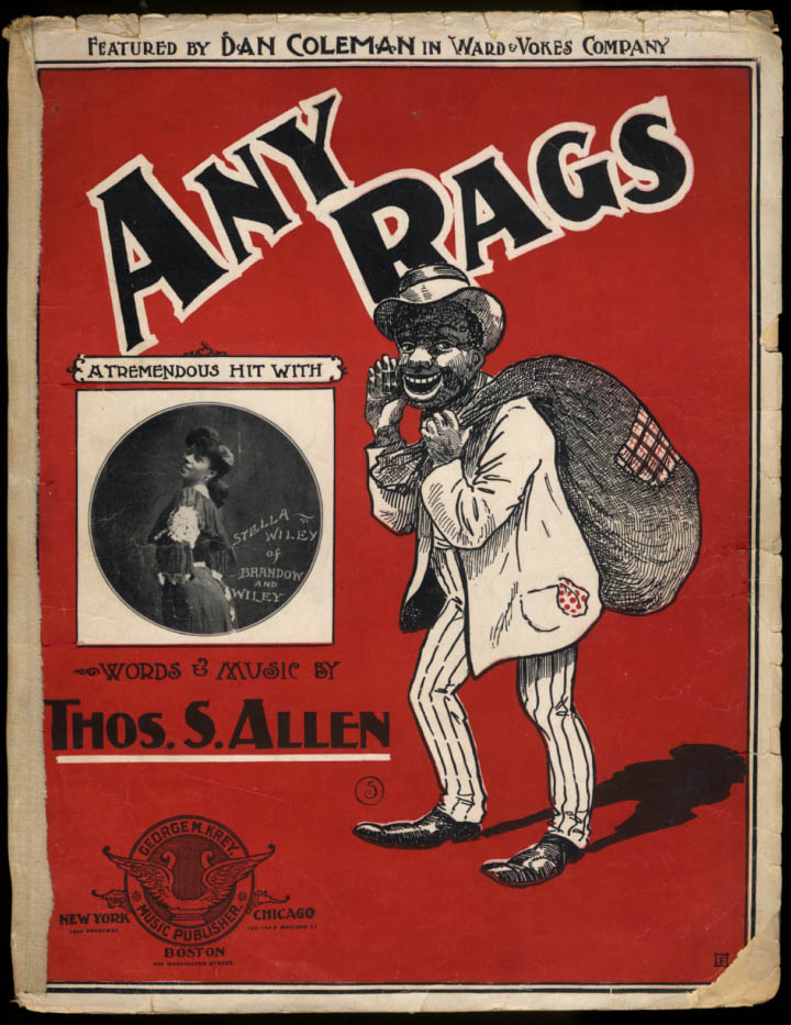 Any Rags sheet music by Thos S Allen 1902 black stereotype