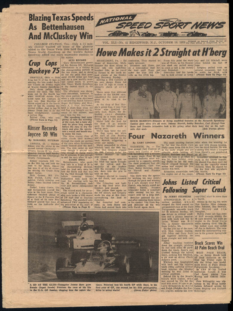 NATIONAL SPEED SPORT NEWS 10/10 1973 Grantelli Charlotte 500 Nazareth McCluskey