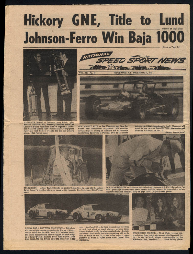 NATIONAL SPEED SPORT NEWS 11/14 1973 ACCUS USAC Hickory GNE Baja 1000 +