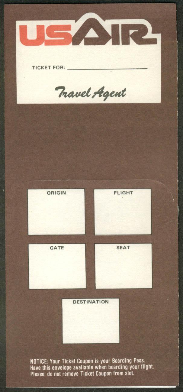 US Air airline ticket wrapper wallet  1981 US Airways USAir