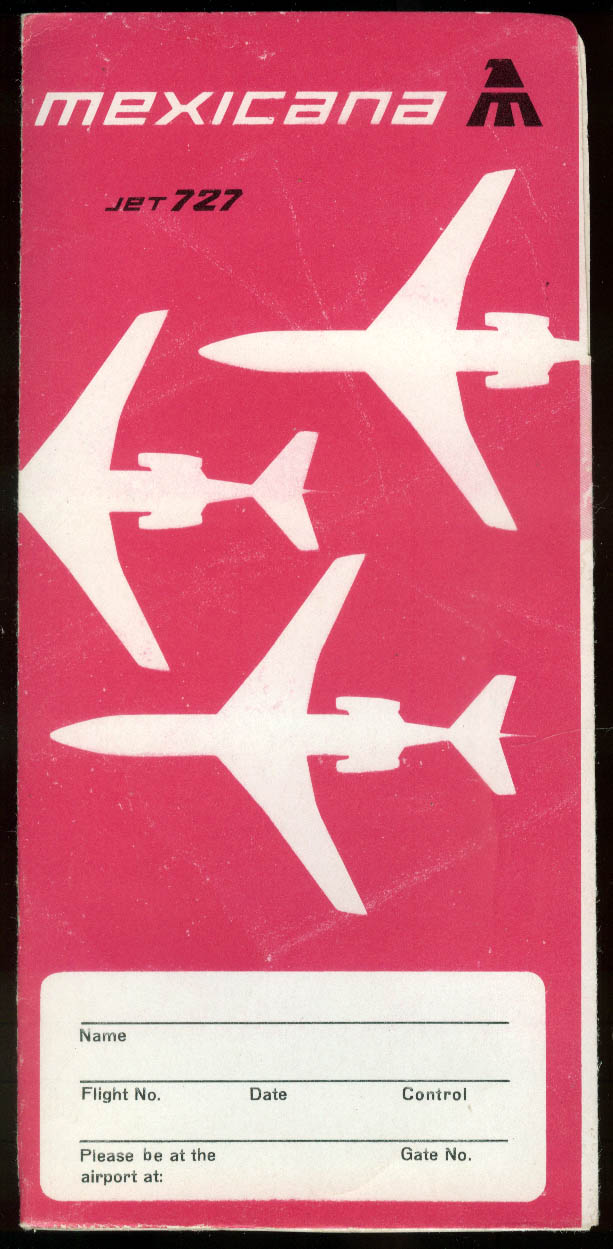 Mexicana Airlines Jet 727 airline ticket wrapper wallet 1969 unused