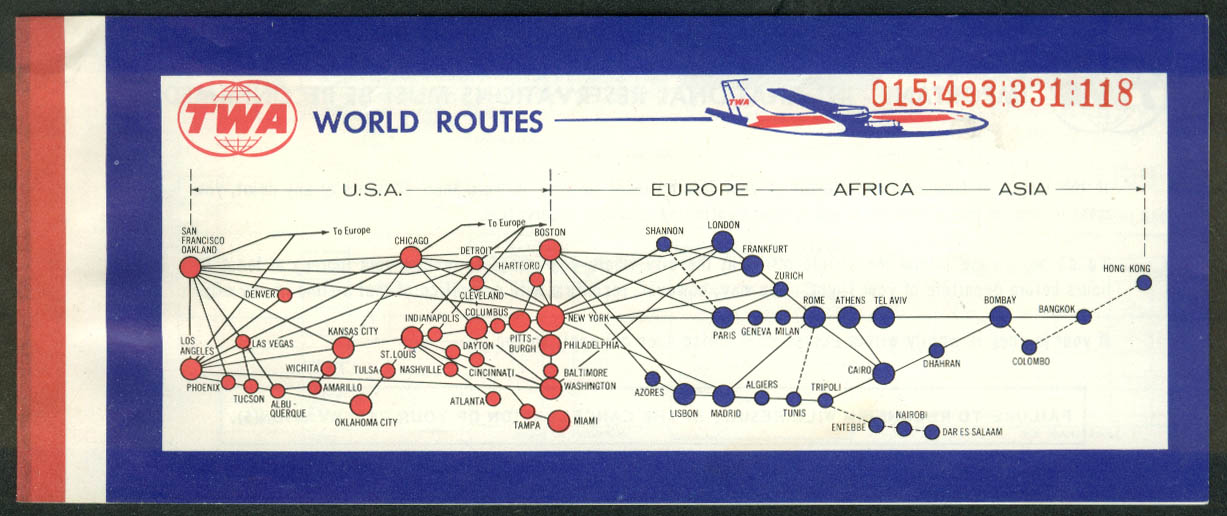 TWA Trans World Airlines airline ticket used World Routes 1969 Keene-NY-DC