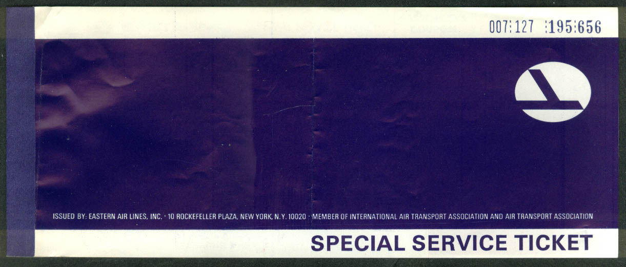 Eastern Air Lines Special Service airline ticket used 1967 LGA-BDL ungrade
