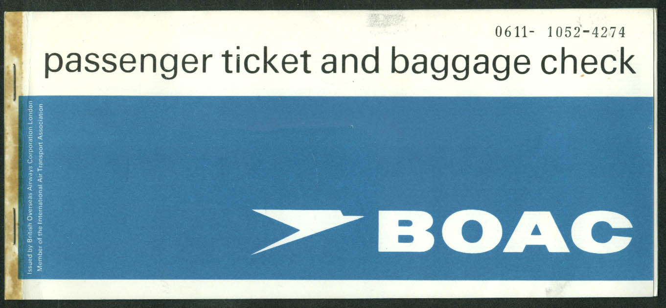 BOAC Demonstration Flight Super VC10 Hartford CT airline ticket used 1967