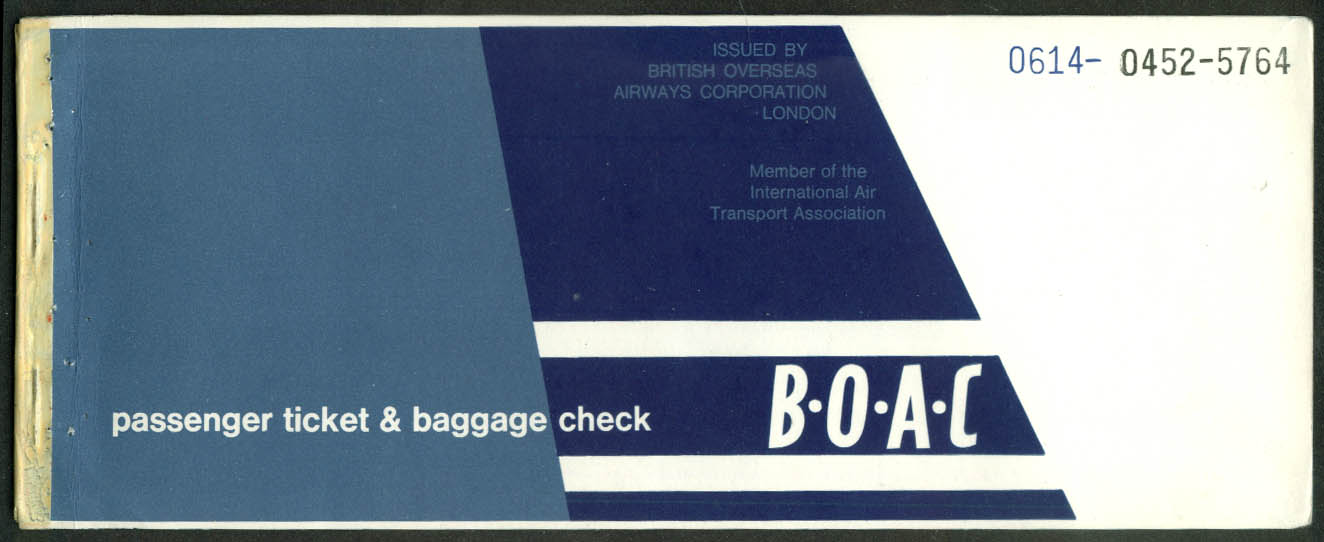 British Overseas Airways Corporation airline ticket used 1964 Kingston-NY-BDL