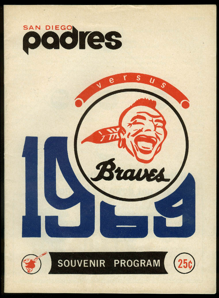 Atlanta Braves at San Diego Padres Souvenir Baseball Program 1969