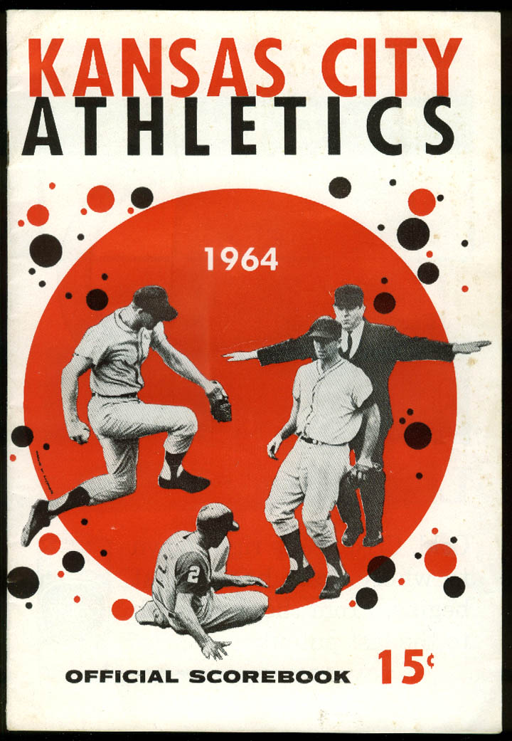 Image for Cleveland Indians at Kansas City Athletics Baseball Scorebook Program 7/16 1964