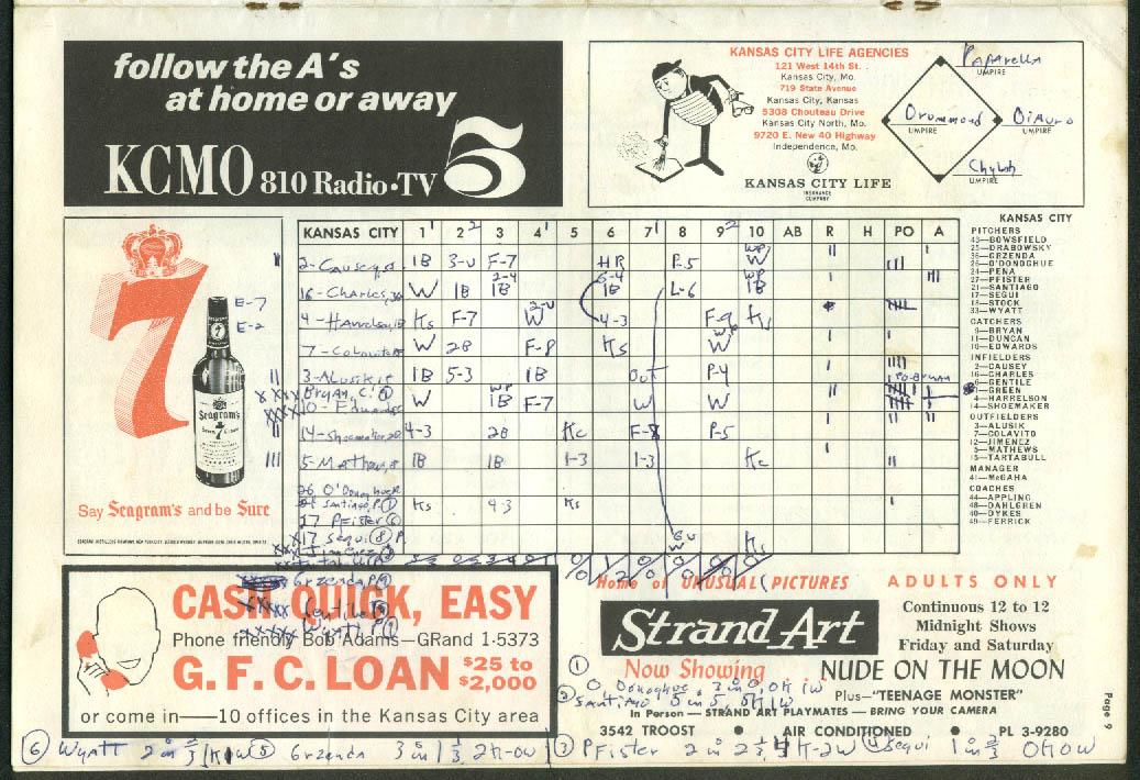 Image for Cleveland Indians at Kansas City Athletics Baseball Scorebook Program 7/16 1964
