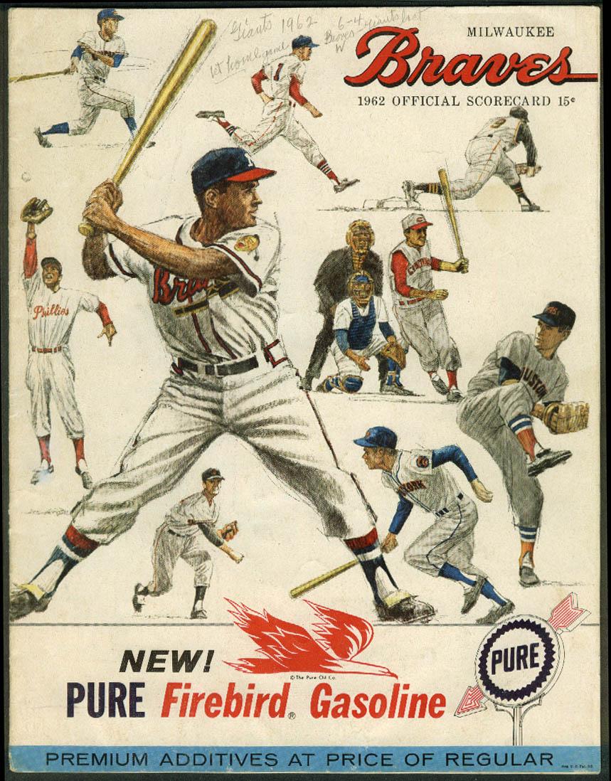 San Francisco Giants at Milwaukee Braves Baseball Scorecard Program 4/18 1962