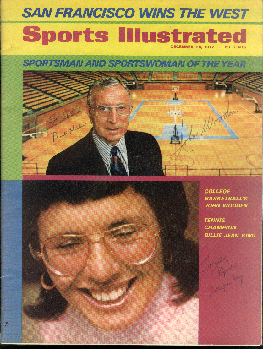 John Wooden Billie Jean King SIGNED Sports Illustrated 12/25 1972