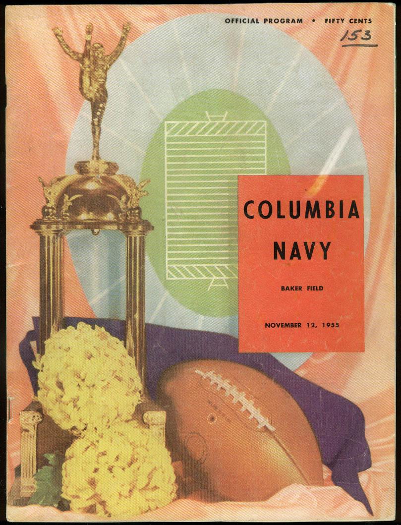 Navy Midshipmen at Columbia University College Football Program 1955