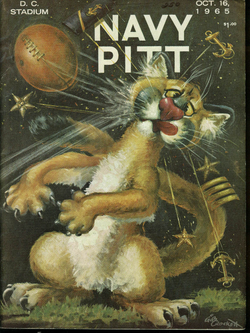 University of Pittsburgh Pitt at Navy College Football Program 1965