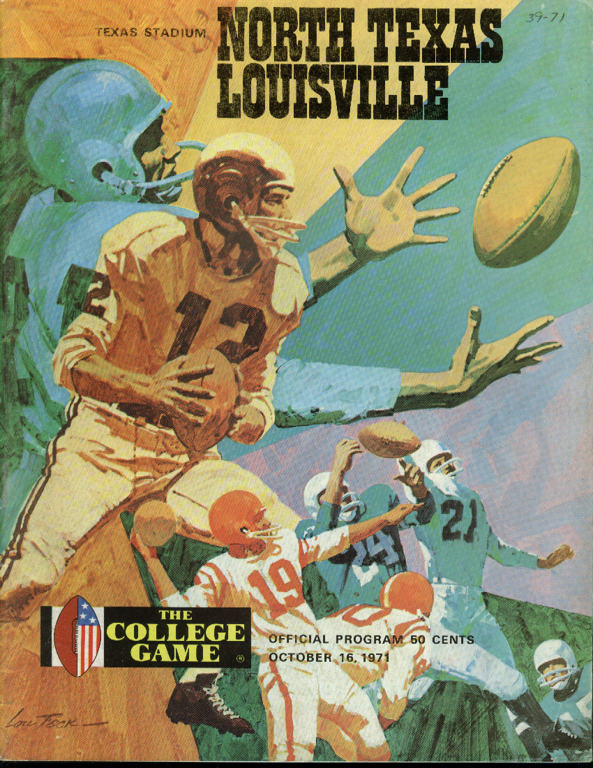 University of Louisville at North Texas College Football Program 1971