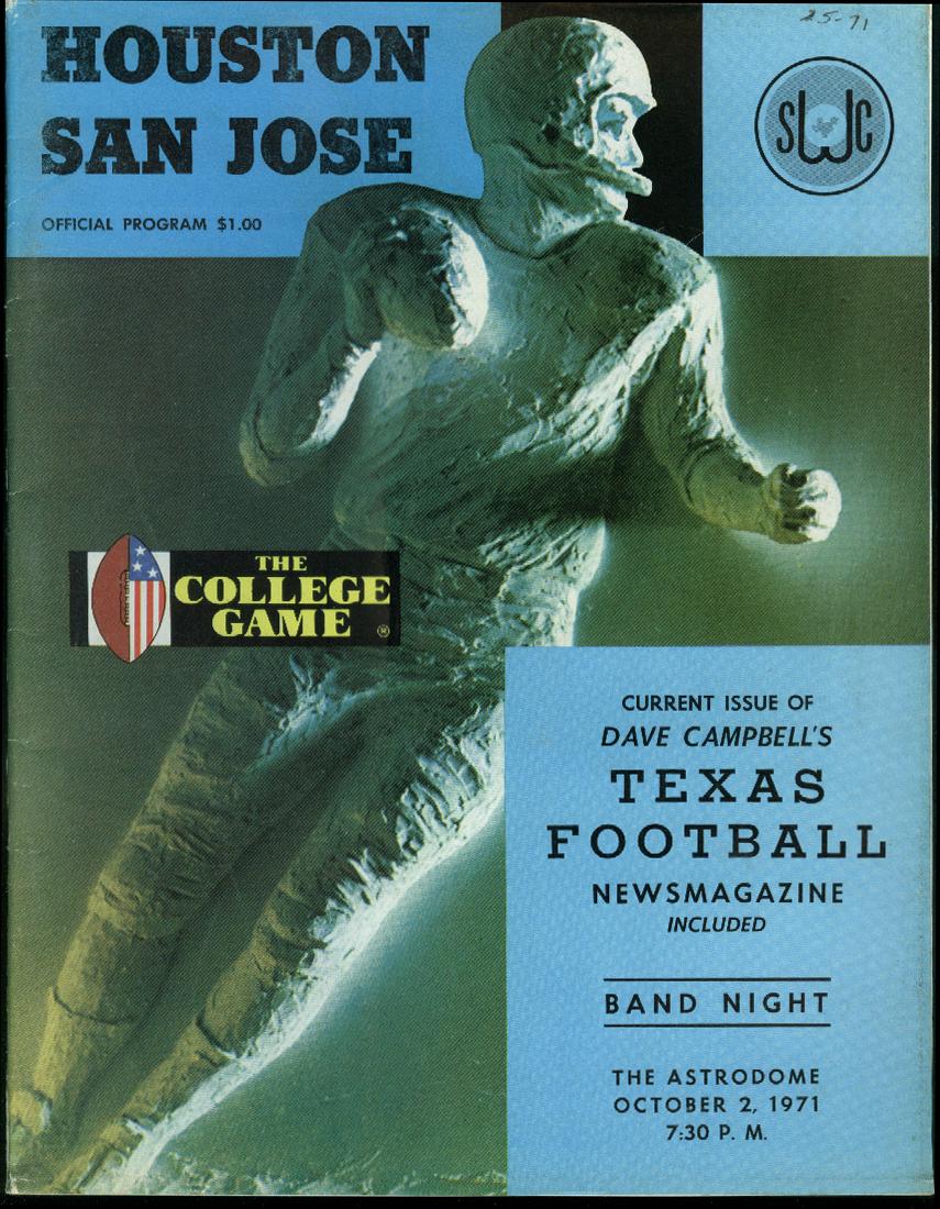 San Jose State University at U of Houston College Football Program 1971