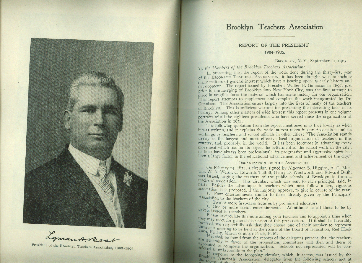 Brooklyn Teachers Association Report of the President 1904-1905 NY