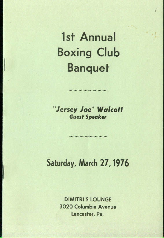 1st Annual Boxing Club Banquet Program 1976 Lancaster PA Jersey Joe Walcott