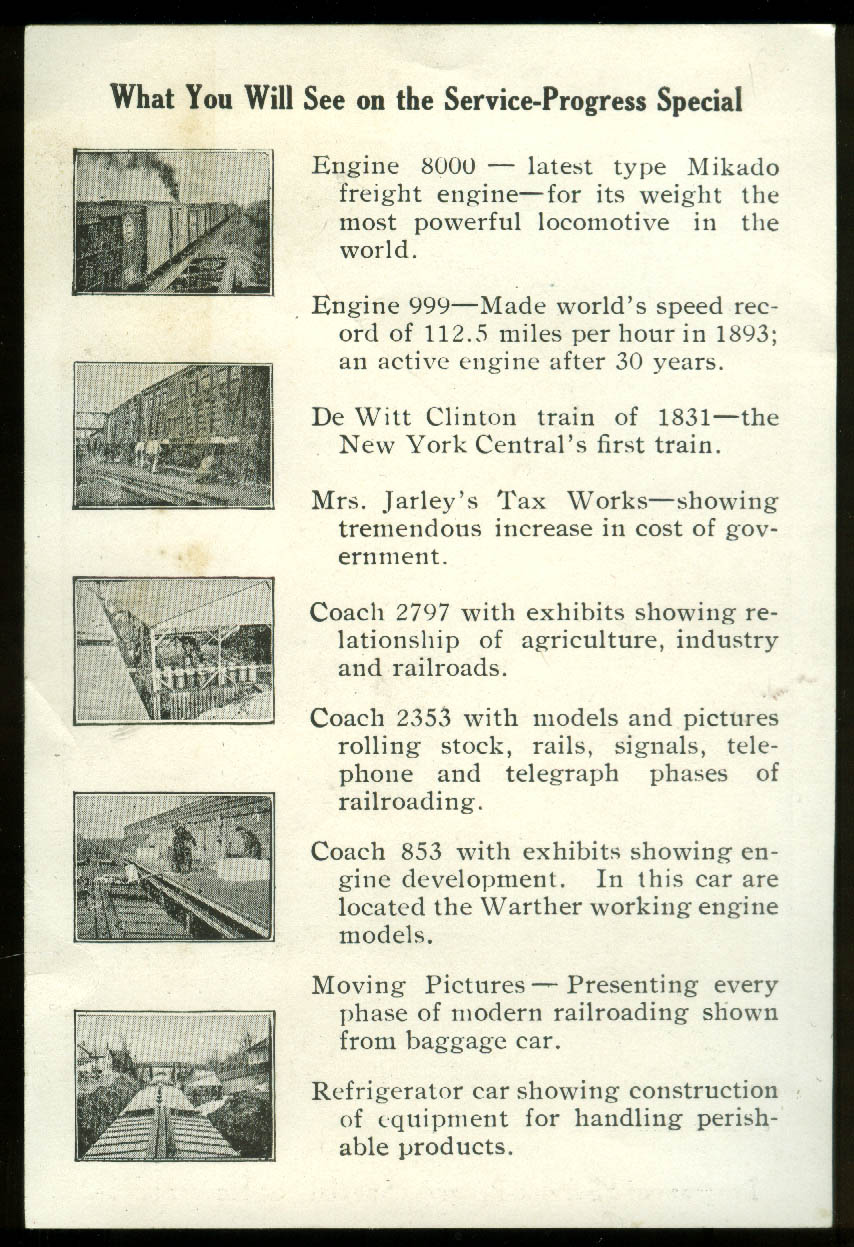 Image for New York Central RR Century of Progress Service-Progress Special card 1934