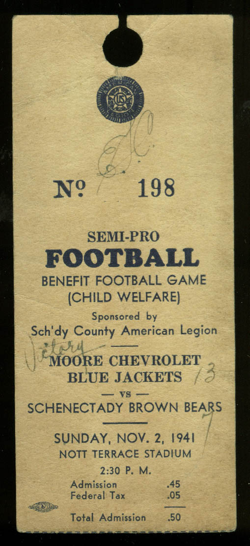 Moore Chevrolet Bluejackets Schenectady Brown Bears Semi-Pro football ticket '41