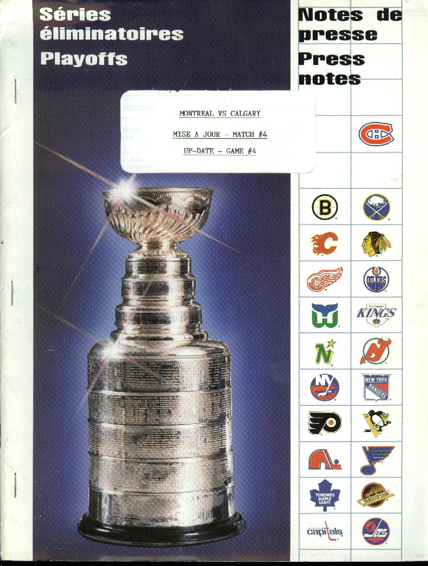 Montreal Canadiens vs Calgary Flames Game 4 Stanley Cup Finals Press Notes 1989