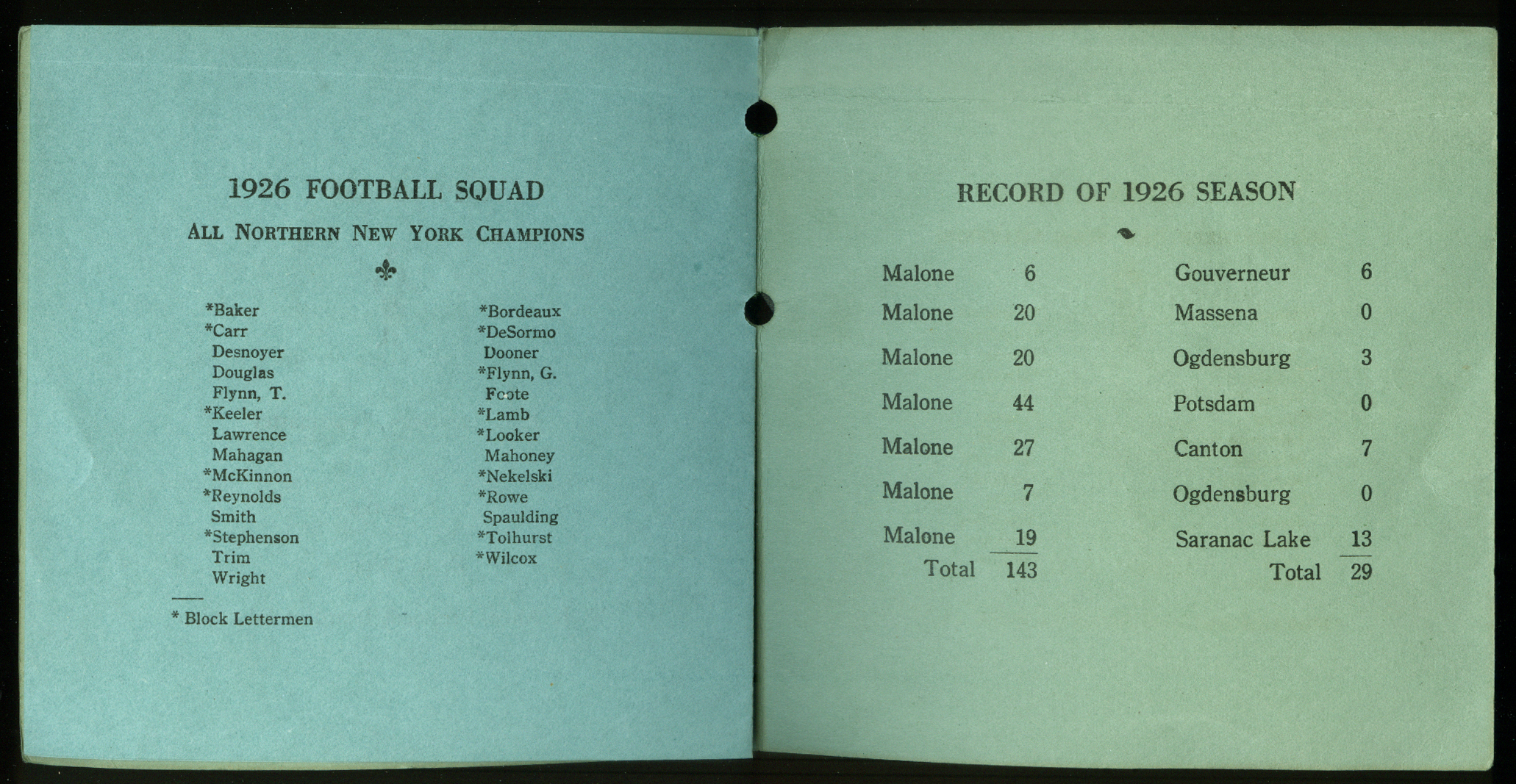 Franklin Academy Football Team Banquest Program 1926 Malone NY
