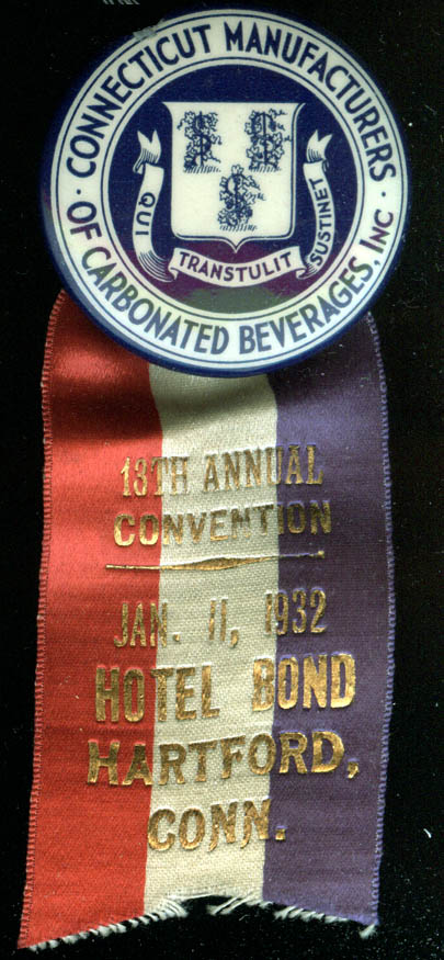 Connecticut Manufacturers Carbonated Beverages Convention pinback ribbon 1932