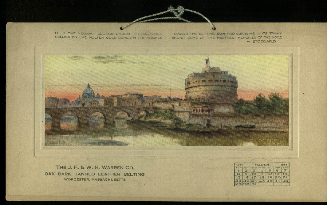 J F & W H Warren Oak Bark Tanned Leather Belting Calendar Card 3 1914 Worcester