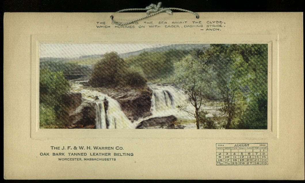 J F & W H Warren Oak Bark Tanned Leather Belting Calendar Card 8 1914 Worcester