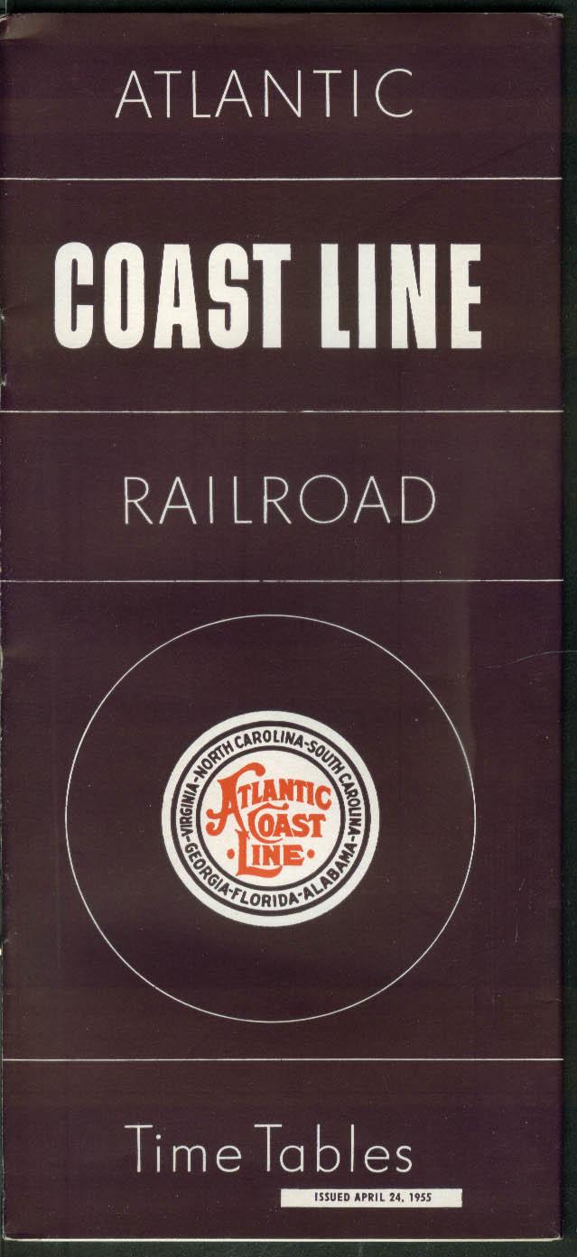 Atlantic Coast Line Railroad Timetables 4/24 1955