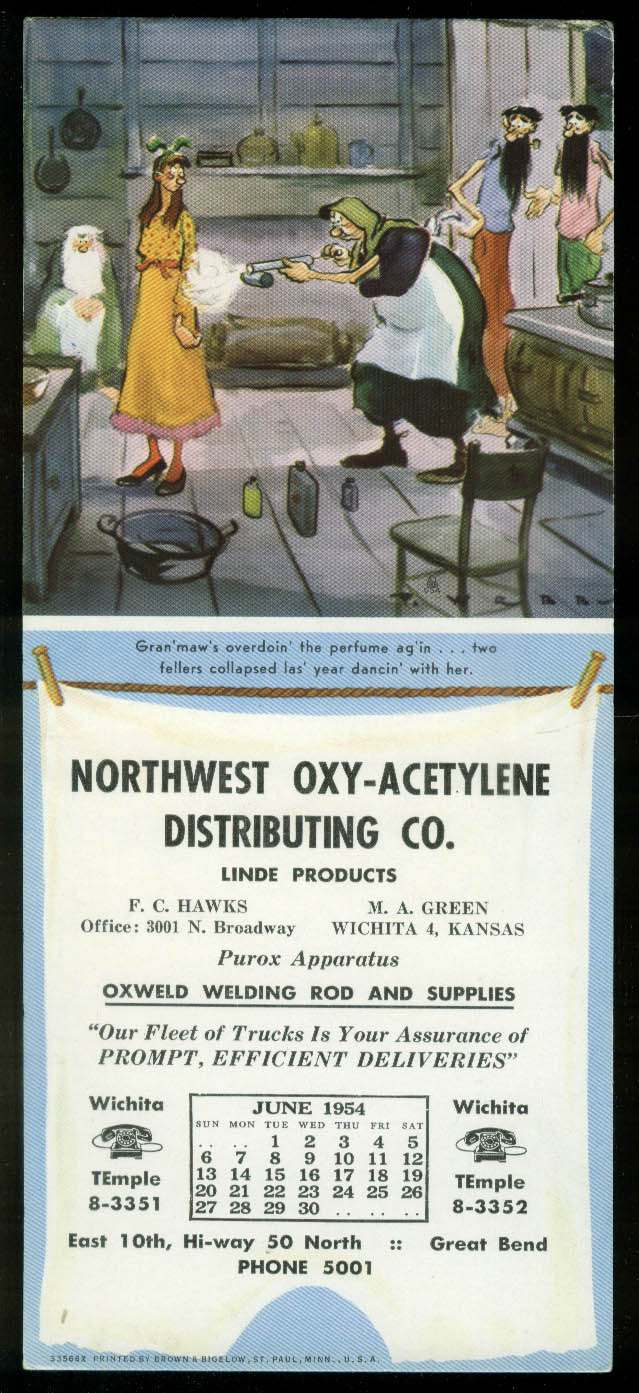Paul Webb Mountain Boys calendar blotter 1954 Northwest Oxy-Acetylene Wichita KS