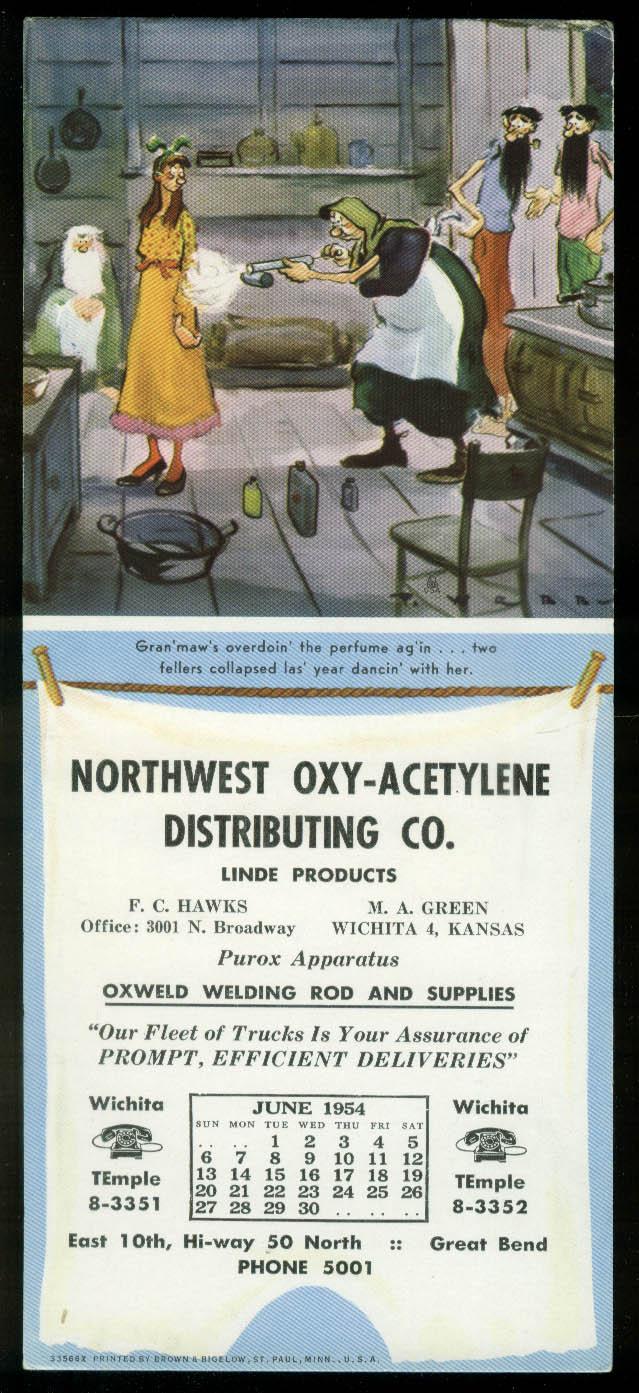 Paul Webb Mountain Boys calendar blotter 1954 Northwest Oxy-Acetylene Wichita KS