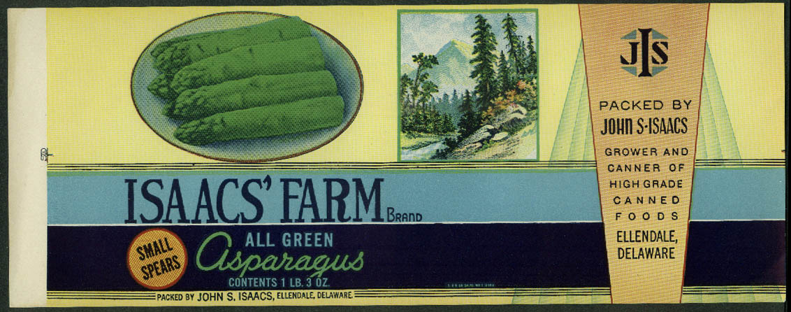 Isaacs Farm All Green Asparagus unused can label Ellendale DE 1940s