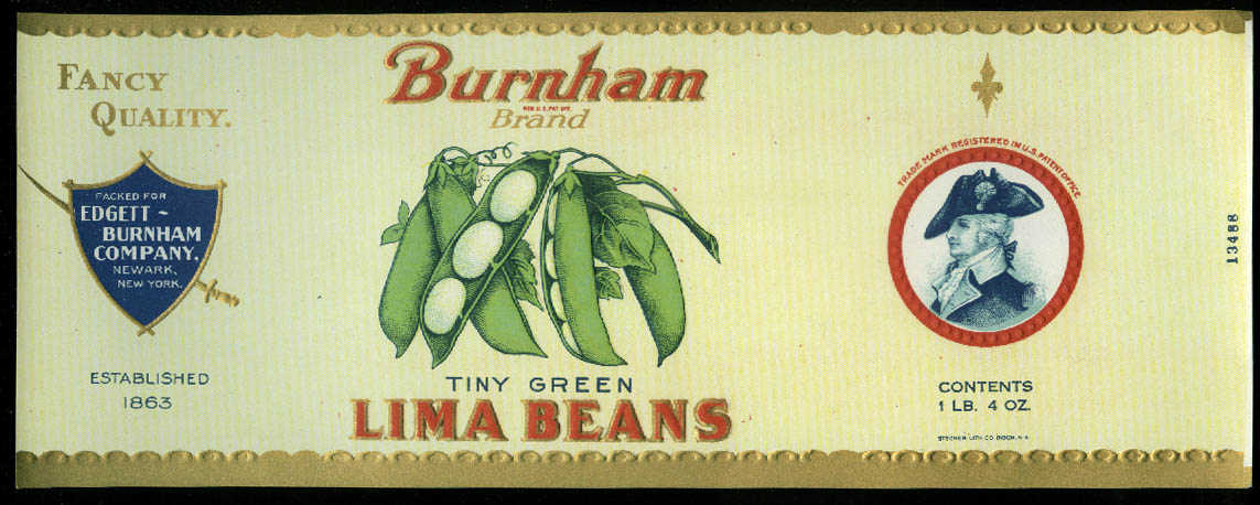 Burnham Tiny Green Lima Beans unused can label Newark NY 1940s