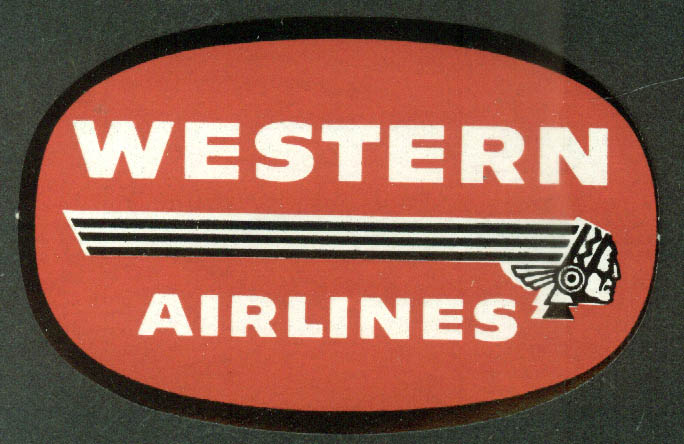 "Western Airlines unused airline baggage sticker 1950s 3 1/8"" wide"