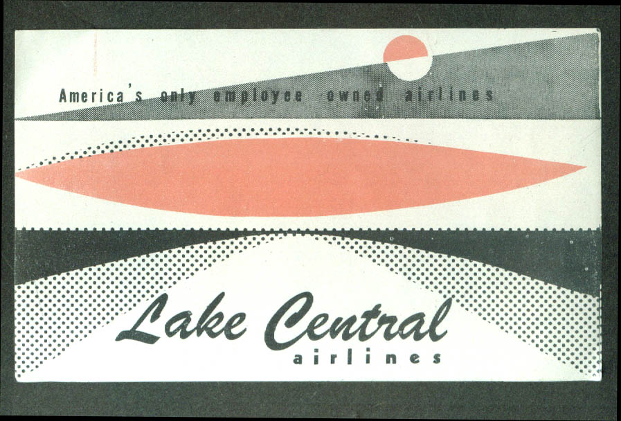 "Lake Central Airlines unused airline baggage sticker2 1/2 x 4 1/4"" gummed."