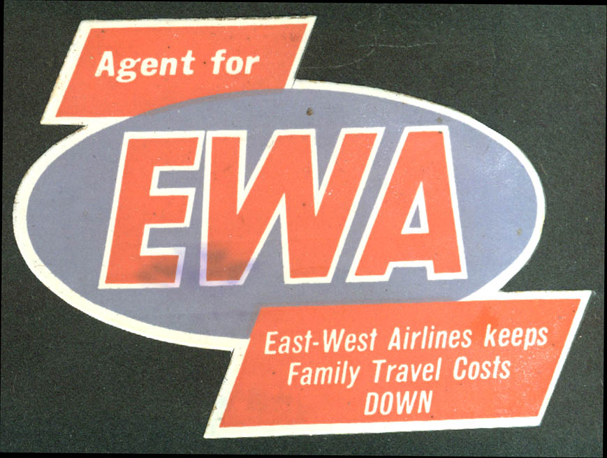 "East-West Airlines Agent identification airline sticker 1950s 4"" wide"