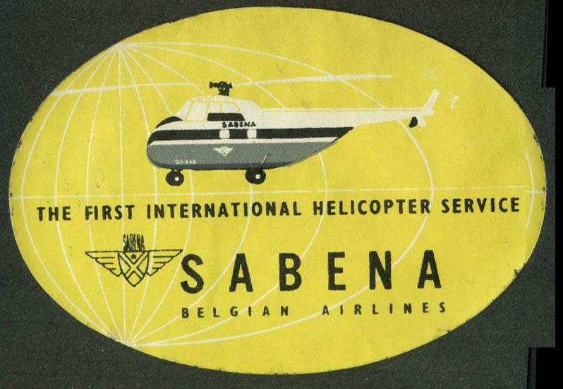 Sabena Belgian World Airways Helicopter Service airline sticker 1950s yellow