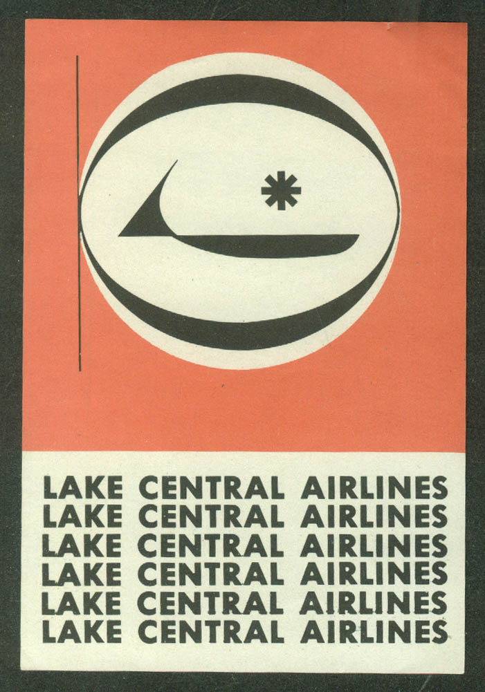 Lake Central Airlines airline baggage sticker 1950s 3 1/8 x 4 5/8""