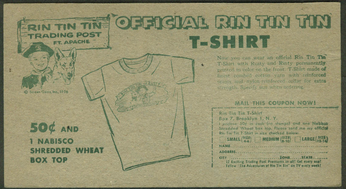 Nabisco card Official Rin Tin Tin T-Shirt offer 1956