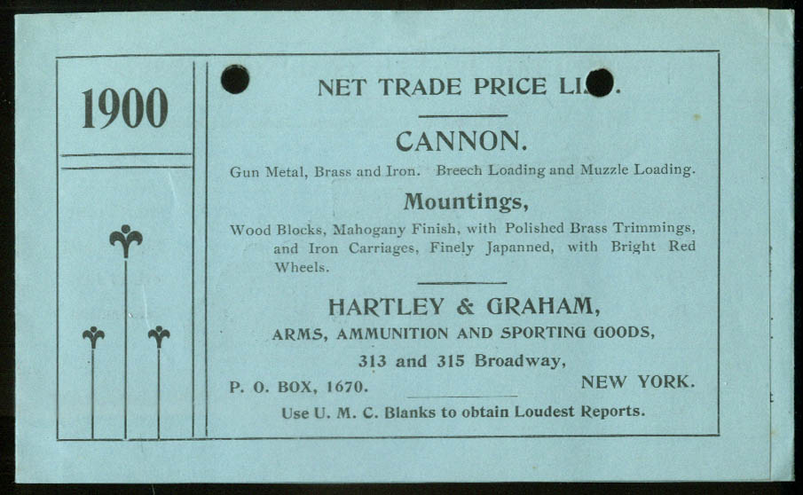 Hartley & Graham Metal Brass & Iron Cannons & Mountings price list folder 1900