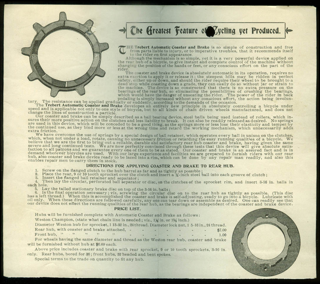 Trebert Automatic Coaster & Brake for Bicycles sales folder ca 1900
