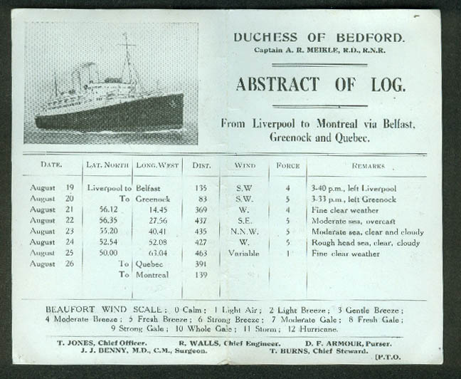 Canadian Pacific Steamships S S Duchess of Bedford Abstract of Log 1938