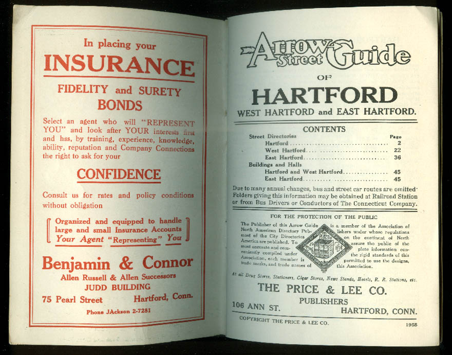 Arrow Street Guide Directory & Map Hartford + East & West Hartford 1955