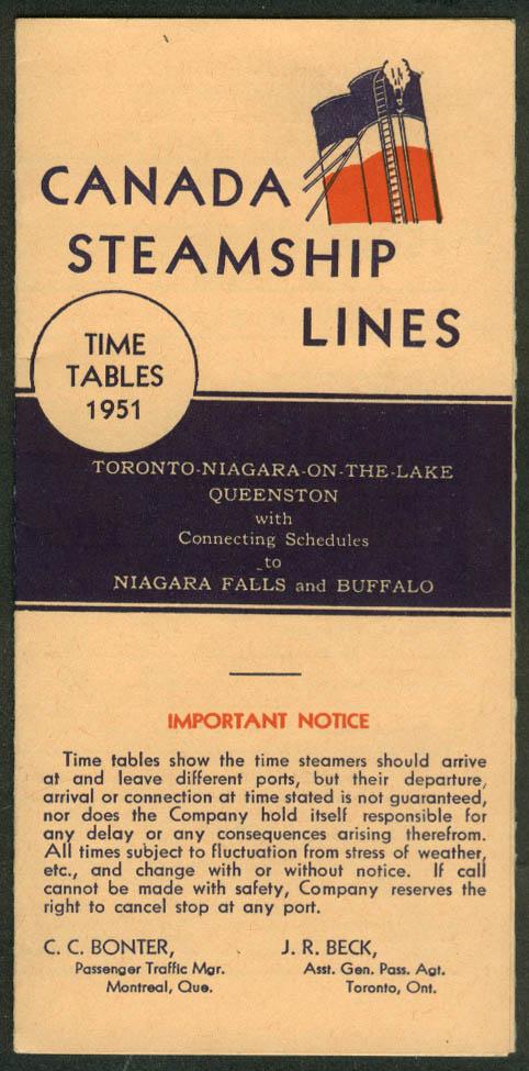 Canada Steamship Lines Toronto-Niagara-Queenston Time Tables 1951
