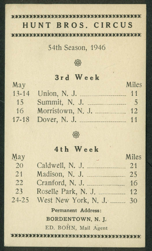 Hunt Bros Circus Route Card 5/13 - 5/25 1946 New Jersey stops