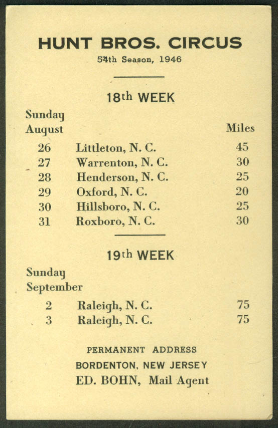 Hunt Bros Circus Route Card 8/26 - 9/3 1946 North Carolina stops
