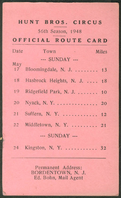 Hunt Bros Circus Route Card May 17-24 1946 New Jersey New York stops