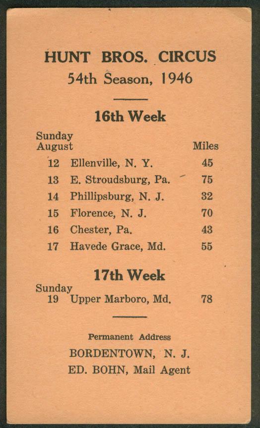 Hunt Bros Circus Route Card 8/12-19 1946 NY PA NJ MD stops